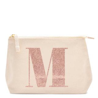 Rose Gold Glitter Initial Makeup Bag Letter M