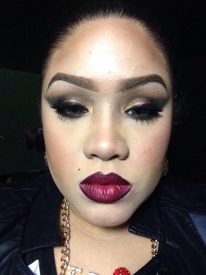 Night out in the city. Lip liner is 'Nightmoth' by MAC Lipstick us 'Bloody Mary' by NYX