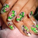 Greenish Piink One stroke nails