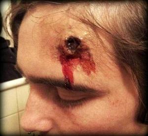 Bullet wound I did on my boyfriend Daniel.