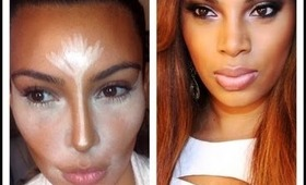 Kim Kardashian Inspired Makeup/ Highlight & Contouring