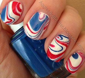 Red white and blue water marbled nails