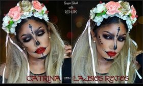 💀CATRINA con LABIOS ROJOS / 👻Sugar Skull with RED LIPS makeup tutotial | auroramakeup