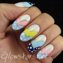 Curved pastel chevrons and dots