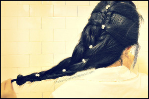 Here is the YouTube tutorial for this long French fishtail braid hairstyle updo.  :)  http://youtu.be/VnHsbxVp86M