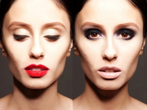 red lip, cat eye, nude matte lip, black smoky eyeshadow