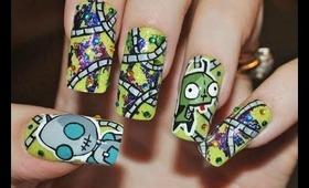 Invader Zim (Gir) Nail Art Tutorial