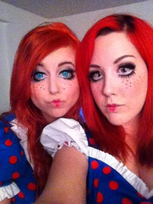 Did both of our makeup and dyed our hair! Twin ragdolls! :)