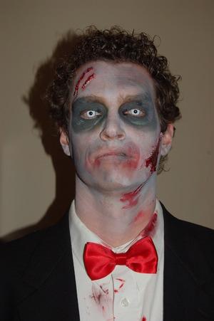 Simple Zombie look with homemade prosthetics.