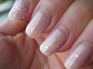 sheer baby pink with glitter.