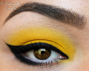 Strong liner over Sugarpills Buttercupcake yellow eyeshadow.