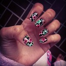 Black And Floral Nails
