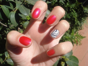 Accent nail... but this time with zebra.