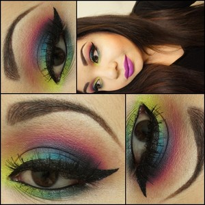 This look was inspired by one of my favorite YouTube Beauty Guru MakeupByLeinaBaaaby Super Colorful Tutorial. :)