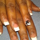 French whit tips black painted flower Acrylic nails