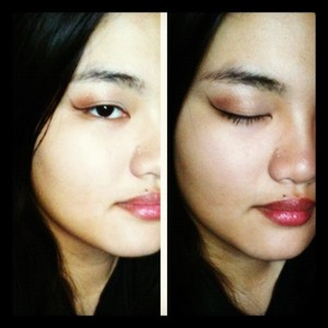 Kept the look focused on my eyes with brown and orange eyeshadow and a dramatic line to match. Used a moisturizing lip tint to finish off this simple look. :)