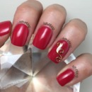 Red and Gold Gel Nails