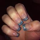 Blue Glitter Acrylic Nails