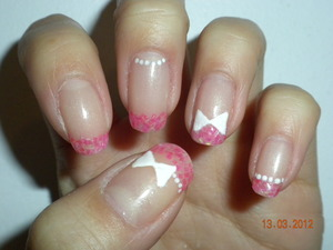 Pink iridescent water colour effect with detailing Left hand