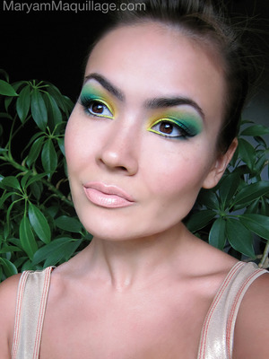Inspired by my pet plant behind me :)) More pix & info on my blog: http://www.maryammaquillage.com/2012/06/chloro-pheeling.html