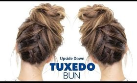 TUXEDO BRAID BUN Hairstyle ★ Upside Down French Braid Hairstyles