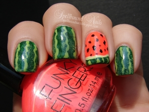 Inspired by Michelle C's Watermelon Nails! (http://www.beautylish.com/f/azjxqx/watermelon-nails?ref=modal) http://spellboundnails.blogspot.com/2012/08/watermelon-nails.html