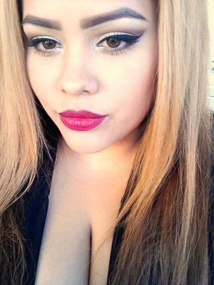 neutral eyes bold dark red lips