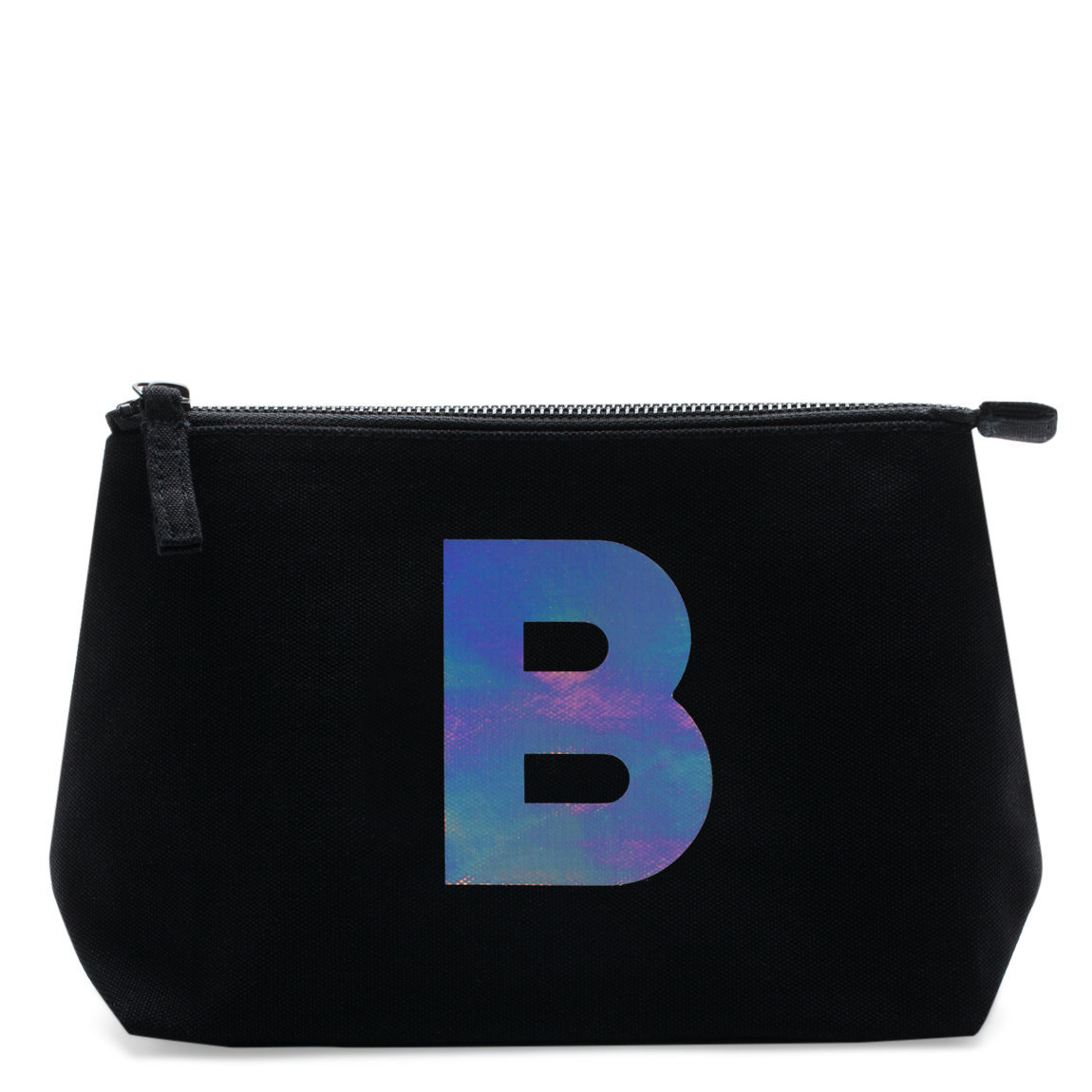 Alphabet Bags Holographic Foil Initial Makeup Bag Letter B product swatch.