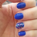 Blue Nails with 'disco glitter'
