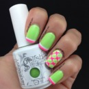 Gelish Lime And Hot Pink Plaid Nails