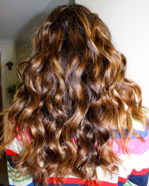 Another photo of my hair curled- this time from the back.