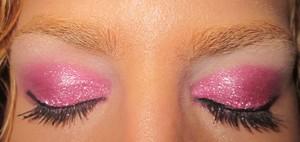 "sugarpill loose eyeshadow in ""magentric"" on lids, sugarpill pressed shadow in ""tako"" on brow bone"