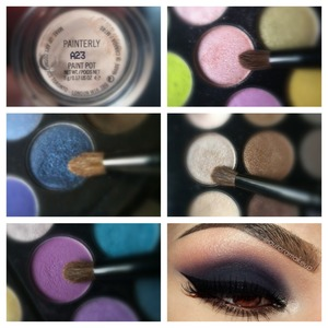 Macs PaintPot EyePrimer. All Sephora Brand Eyeshadows. First used the Dark Blue Eyeshadow, Second used the Purple Lavendar color, third I applied a Light Coral, and Fourth I put on a beige sheer as my highlighter. Sorry I failed again on the colors names but it's all sephora. And soon in a few hours I will show you this look I recreated.
