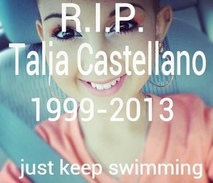 A beautiful girl such an inspiration to me and everyone we love u Talia just keep swimming 💜💜💜💜😥💜💜💜