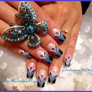Abstract, blue french nails