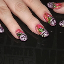 """Lavander Roses For Spring With Raindrops And Red And Yellow """"Flame"""" Marble."""