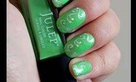 Easy Elegant Green and Silver Prom Nails