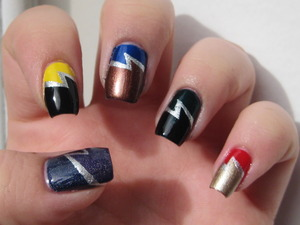 Harry Potter double lightning bolt nails :)