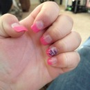 Pink, purple, white, silver nail