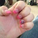 Pink, purple, white, silver nail