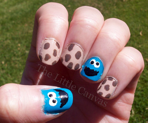 Cookie Monster nails done for a birthday party :)