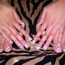 Leopard Print w acrylic bows and pearl and rhinestone accents