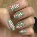 green with flowers