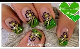St. Patrick's Day Nail Art | Abstract Green and Gold  Shamrock French ♥
