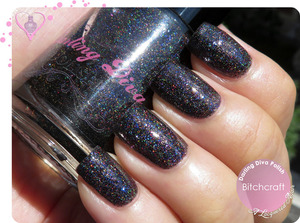 Swatches and review of this holographic cum colour-shifting polish up on the blog:  http://www.alacqueredaffair.com/Darling-Diva-Polish-Bitchcraft-31151544