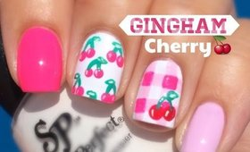 Gingham Cherry Nail Art by The Crafty Ninja
