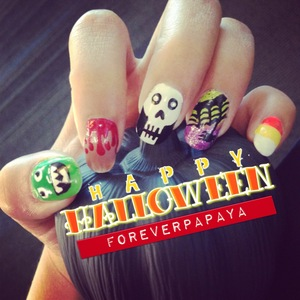 green monster, bloody finger, skull, spider & web, yummmmmmmmmmy candy corn