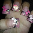 Duck feet pink and black bow nails