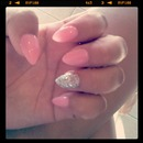 pink & glitter  Almond Shaped Nails (claws)