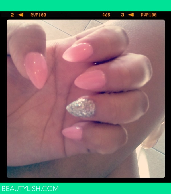 pink & glitter Almond Shaped Nails (claws) | Carmen M.'s
